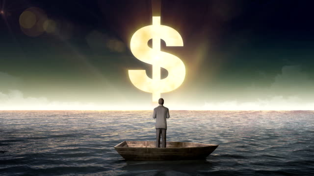 Rising Dollar sign, currency, front of Businessman on a ship video