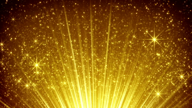 rising gold particles in light rays loopable video