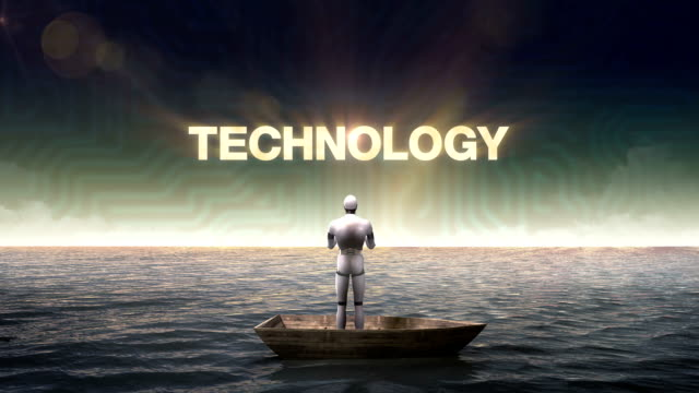 Rising 'Technology', front of Robot on ship, ocean, sea. video