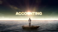Rising typo ACCOUNTING, front of Businessman on a ship, in the ocean, sea. video