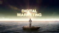 Rising typo DIGITAL MARKETING, front of Businessman on a ship video