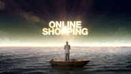 Rising typo Online shopping, front of Businessman on a ship video