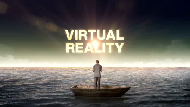 Rising typo 'VIRTUAL REALITY' front of Businessman on a ship. video