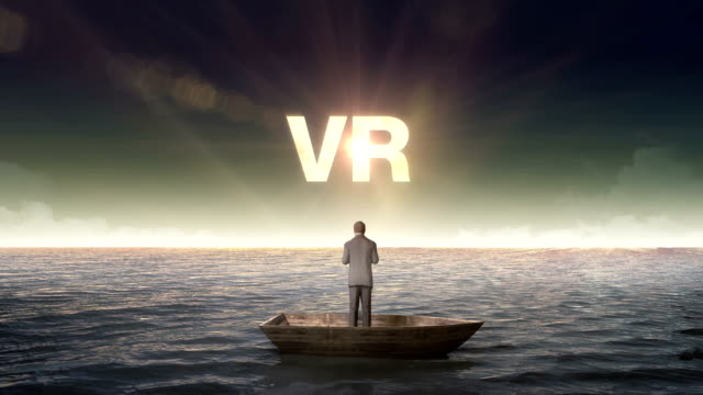 Rising typo 'VR' front of Businessman on a ship video