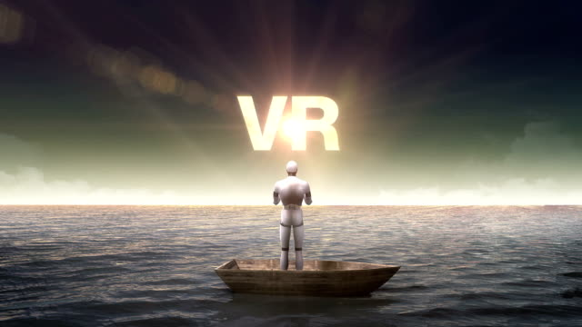 Rising 'V R', front of Robot on ship, ocean, sea. video