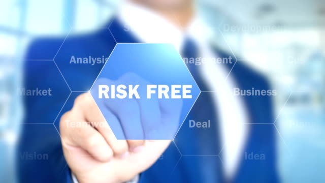 Risk Free, Businessman working on holographic interface, Motion Graphics video