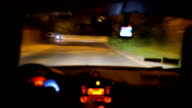 Risky driving at night, driver under influence or ill, dangerous wheel turn video