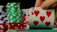 Risky poker player catches pocket pair, gambler hopes to win video