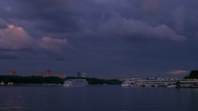 River boat station with yachts passing by video
