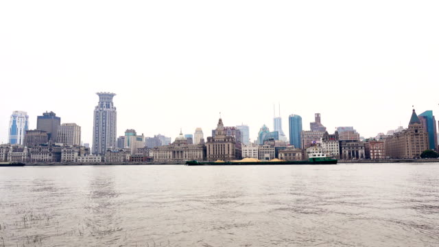 River Boats on the Huangpu River and as Background the Skyline of the Northern Part of Puxi video