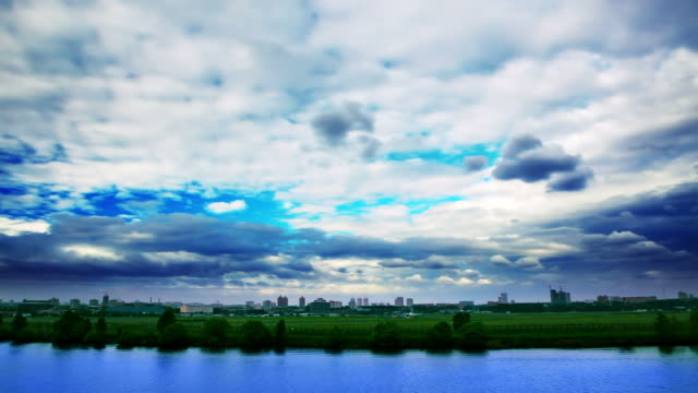 River, city and sky video
