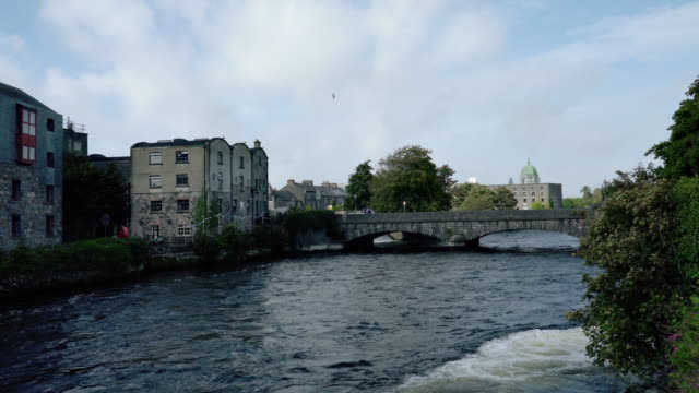 River Corrib in Galway city Ireland video