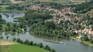 River Danube and barge - Aerial View - Bavaria,  Lower Bavaria,  Landkreis Deggendorf helicopter filming,  aerial video,  cineflex,  establishing shot,  Germany video