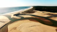 River flows into the ocean aerial video