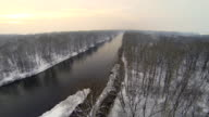 HD HELI: River In Wintry Sunset video