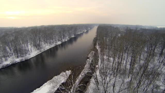 HD HELI: River In Wintry Sunset video
