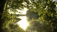 River landscape at sunset video
