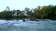 River near waterfall. video