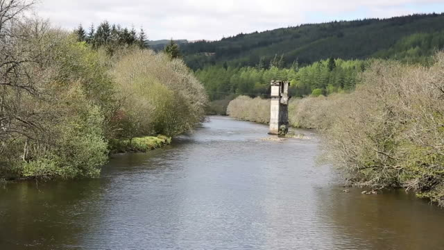River Oich Fort Augustus Scotland UK Scottish Highlands by Loch Ness with bridge tower video
