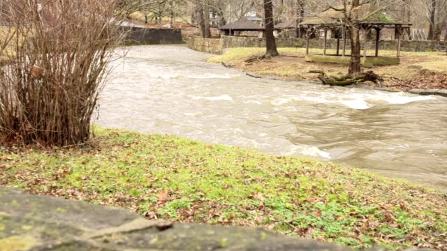 River overflowing after rain storm video