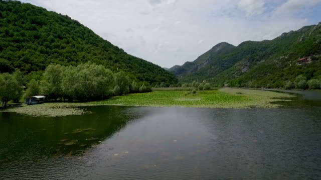 River Rijeka Crnojevica flowing around hill. Circular watercourse turn with green lilies on water surface. Part of Skadar lake and national park in Montenegro video