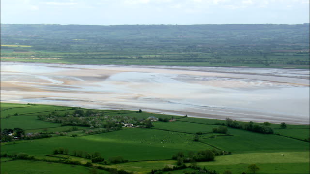 River Severn Estuary  - Aerial View - England,  South Gloucestershire,  Aust,  United Kingdom video