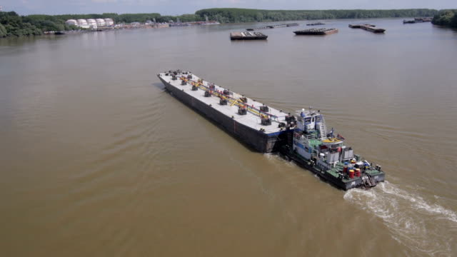 River tanker aerial view video