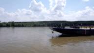 River tanker aerial view video