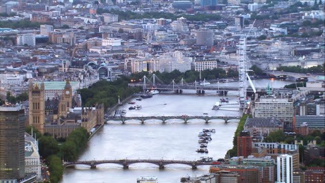 River Thames at Dusk. Aerial HD1080 video