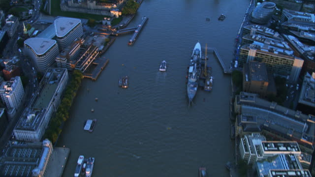 River Thames, London. England, HD Aerial footage video