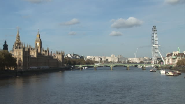 River Thames, London with Parliament - HD & PAL video