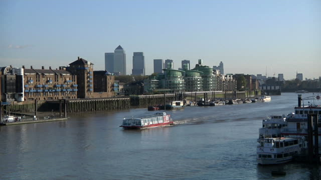River Thames with Canary Wharf skyline video