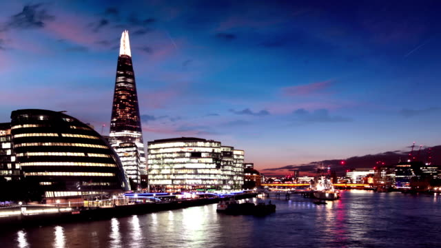 River Thames with London City Hall and The Shard video