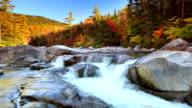 River through fall foliage, Swift River Lower Falls, NH, USA video