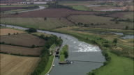 River Trent North Of Newark  - Aerial View - England, Nottinghamshire, Newark and Sherwood District, United Kingdom video