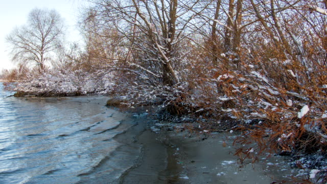 River water surface on a winter day video