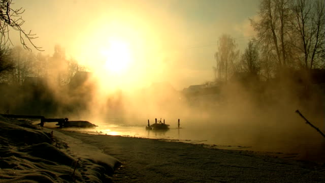 River. Winter. Morning. Fog. video