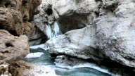 river with green water in a stone canyon in the winter video