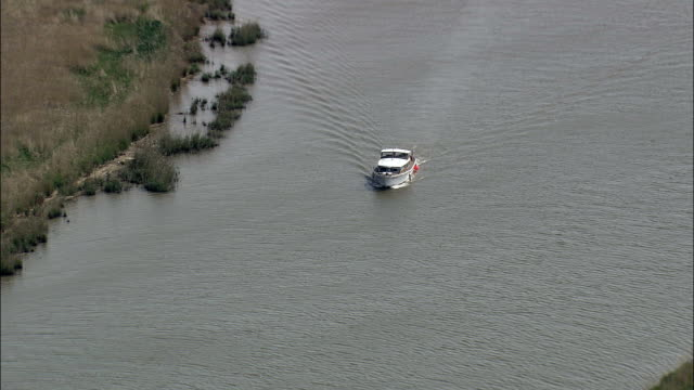 River Yare  - Aerial View - England, Norfolk, Broadland, United Kingdom video