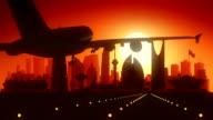Riyadh Airplane Landing Skyline Golden Background video