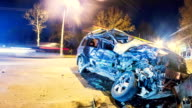 Road accident. Crashed car on the road timelapse. video