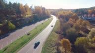 Road aerial shot video