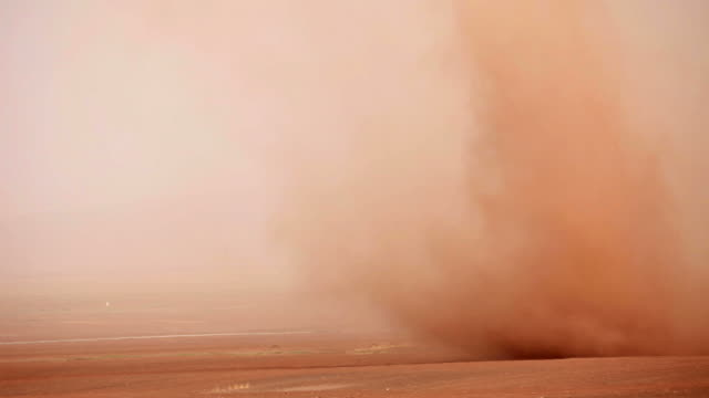 Road and desert storm in Gansu province, China video