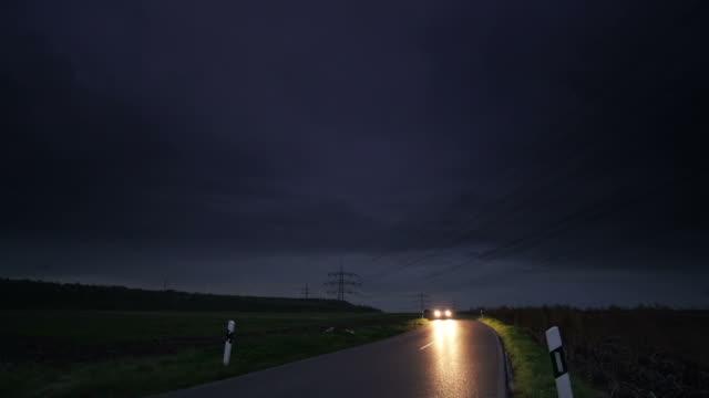 CRANE UP: Road at night video