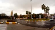 Road Circle with Palms Cars Drive Around in Centre of Old City Shanlyurfa video