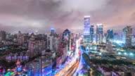 road cityscape and skyline of shanghai. timelapse 4k video