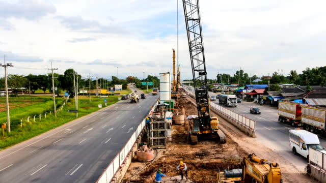 road construction time lapse 4k video
