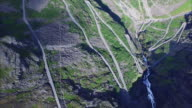Road in Trollstigen, Norway, aerial footage video
