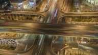 T/L MS HA PAN Road Intersection at Night, Aerial View / Beijing, China video