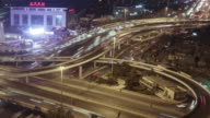 T/L CU HA PAN Road Intersection at Night / Beijing, China video